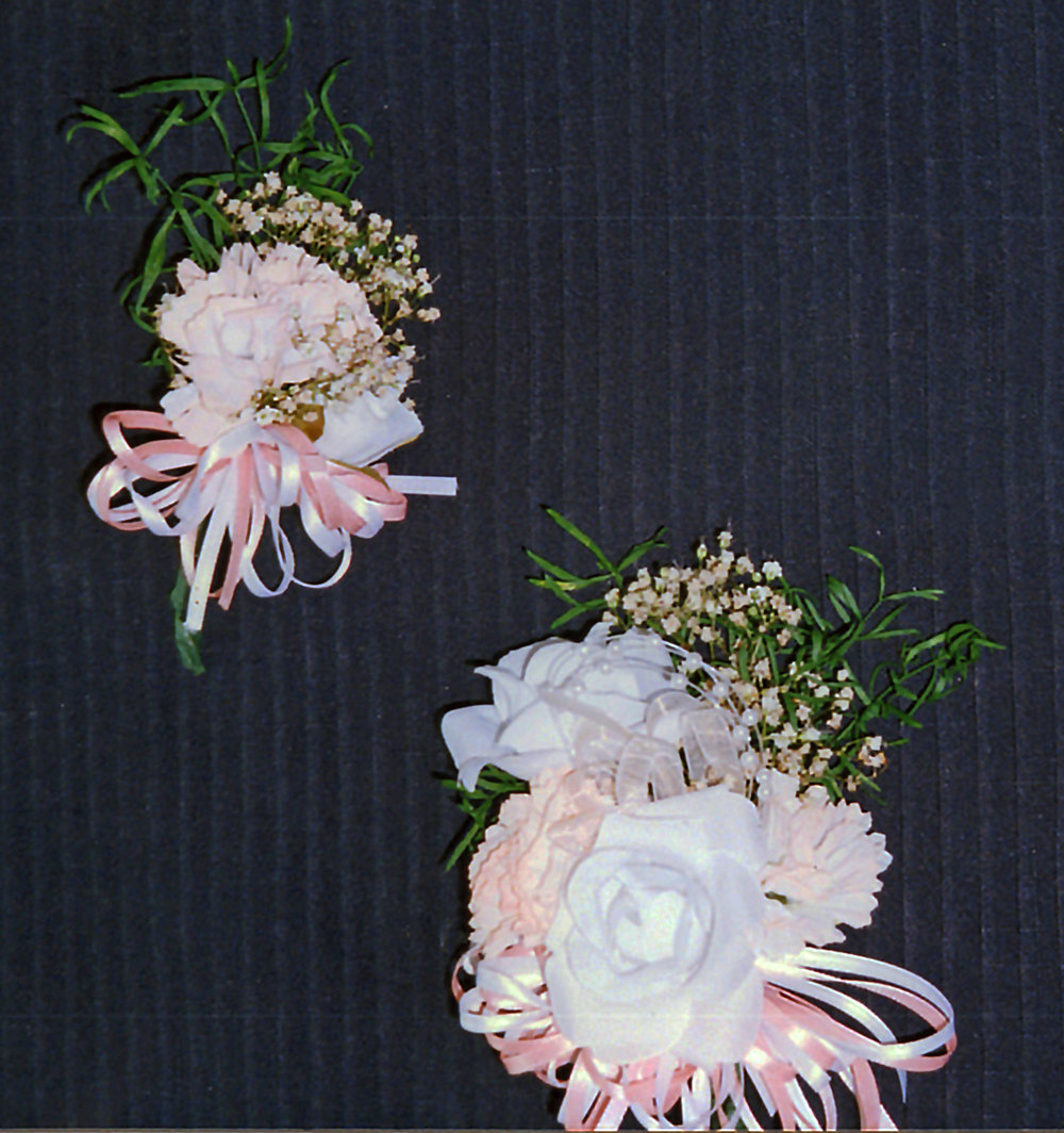 grandmother (top) and mother's (bottom) corsages - silk and dried flowers