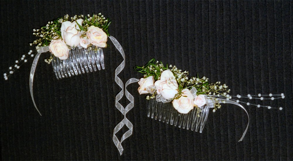 hair combs - silk and dried flowers