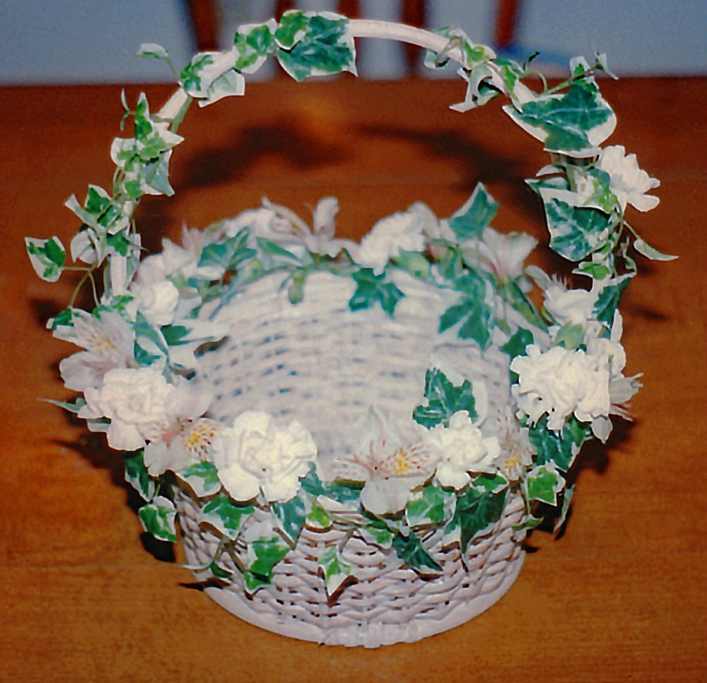 flower girl basket - silk and fresh flowers