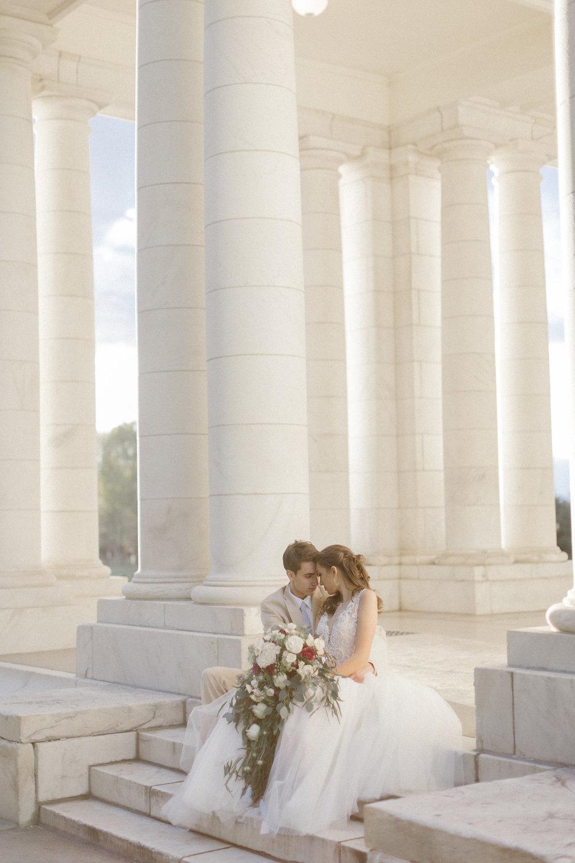 Bride & Groom, boutineer & over-sized cascade bouquet - fresh flowers