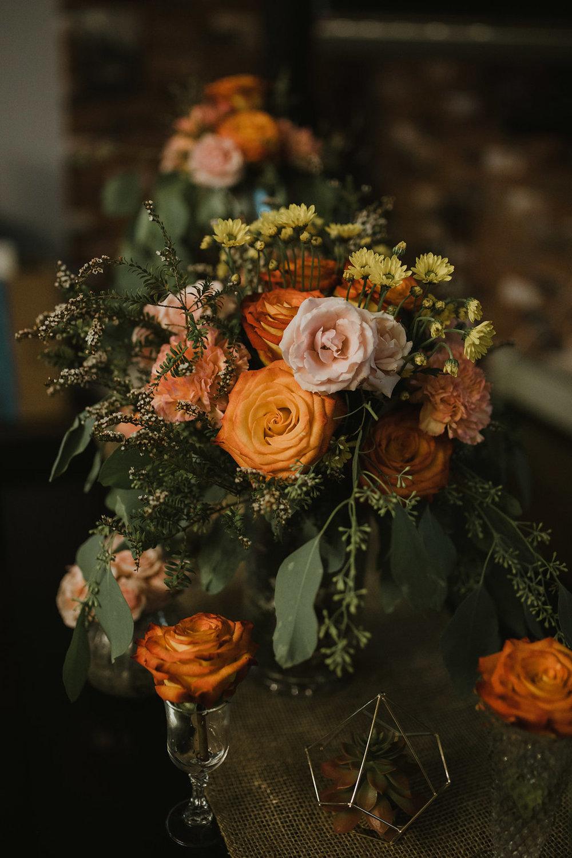 Boho tablescape - fresh flowers, artificial succulents