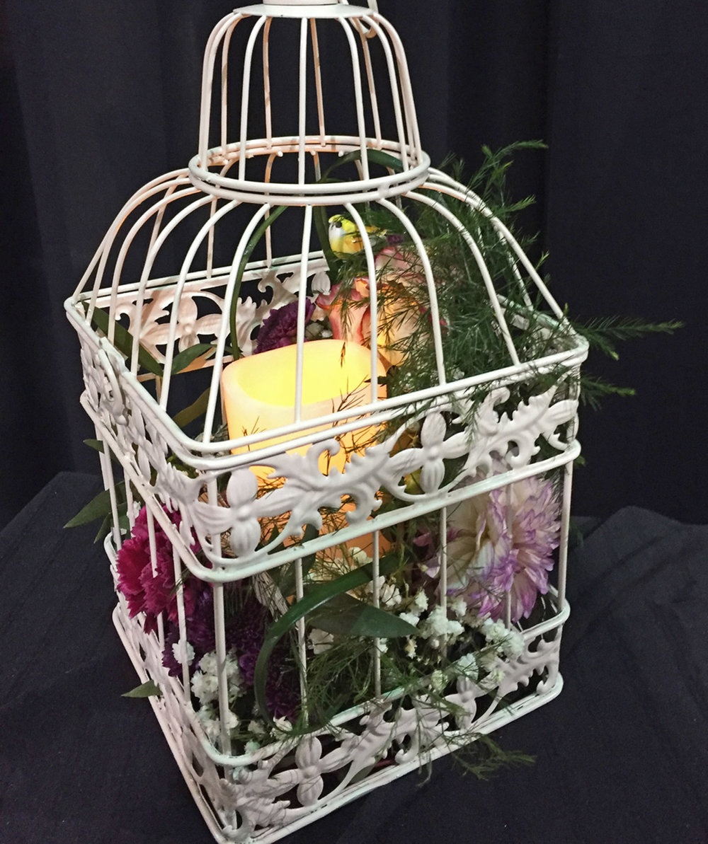 metal birdcage centerpiece w/LED candle - fresh flowers, mushroom birds