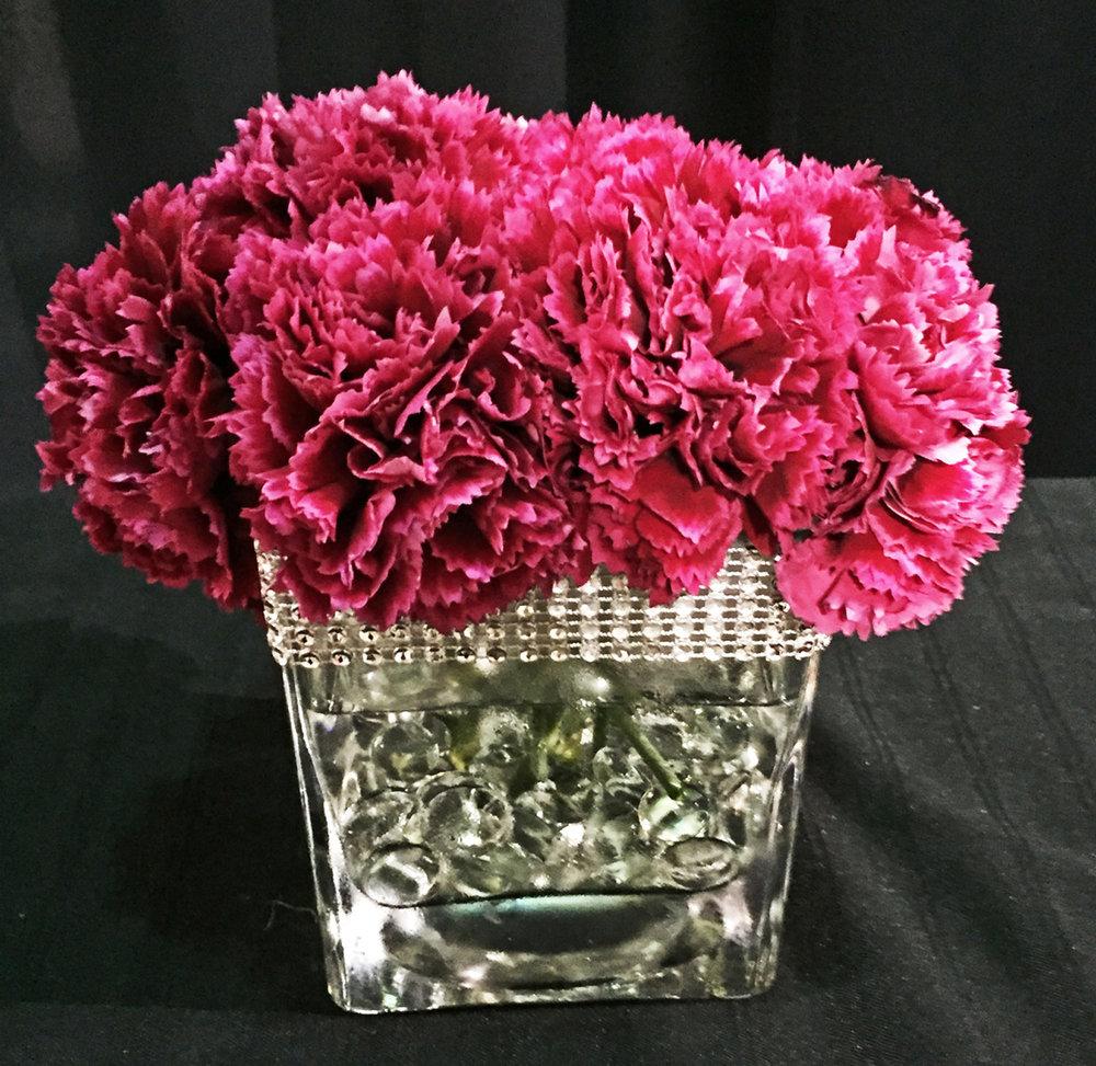 4-inch square vase centerpiece with rhinestone trim - fresh flowers and aqua beads