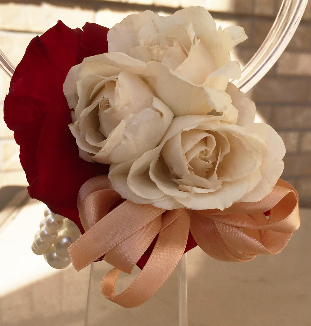 mother's wrist corsage - fresh flowers, pearl wristlet