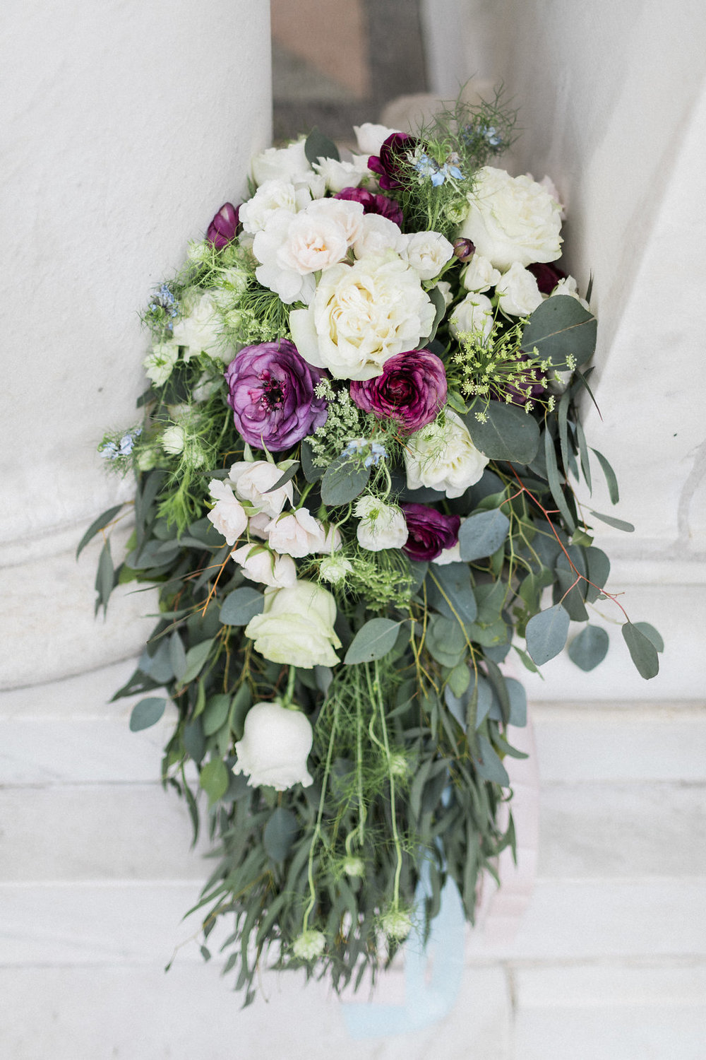 bride over-sized cascade bouquet - fresh flowers,hand-dyed silk ribbon