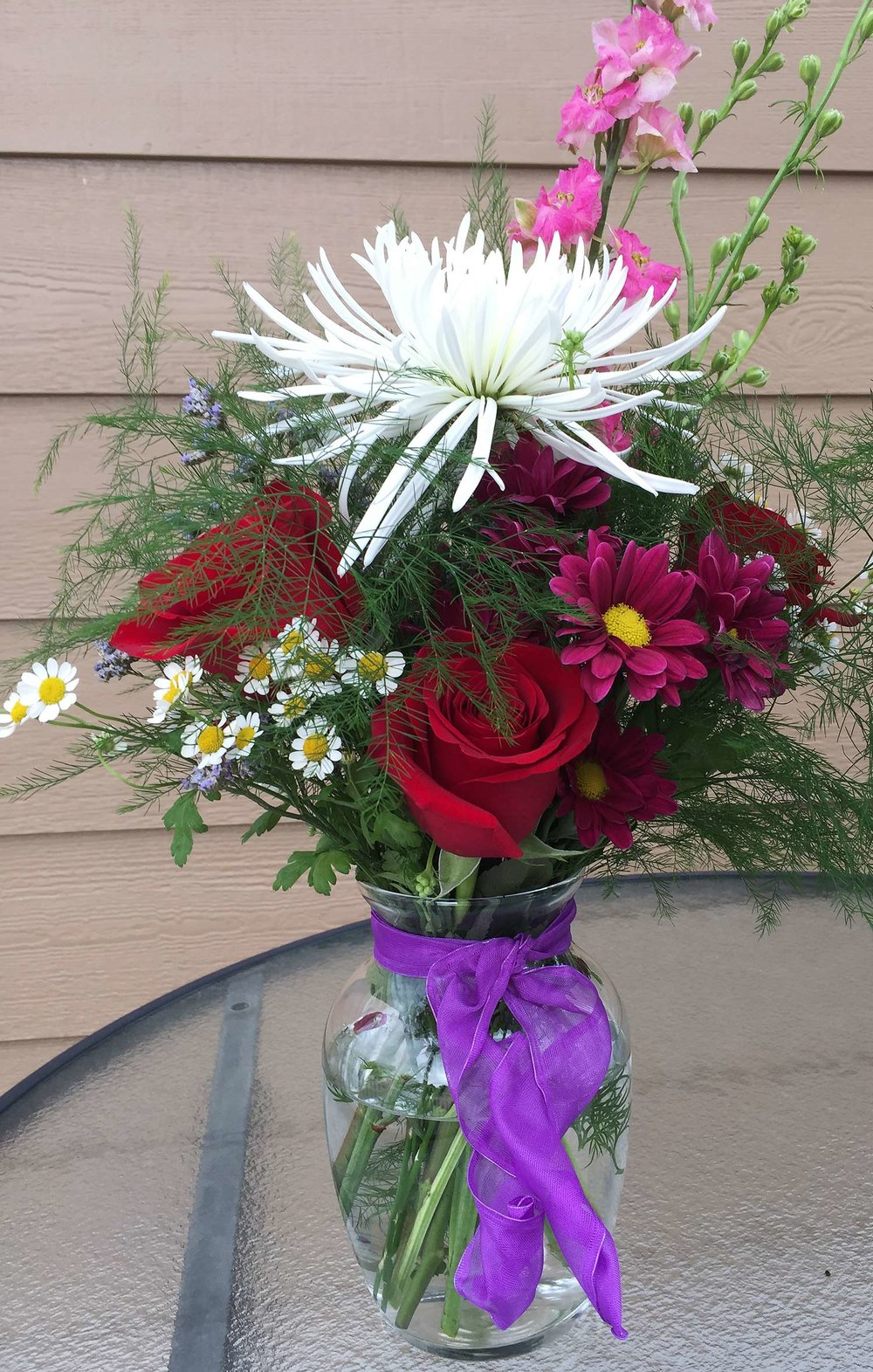 table centerpiece for summer or winter event - fresh flowers