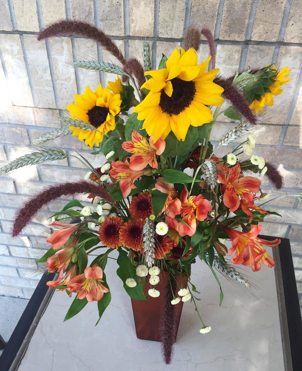 tall centerpiece or accent arrangement for fall event - fresh flowers and grasses
