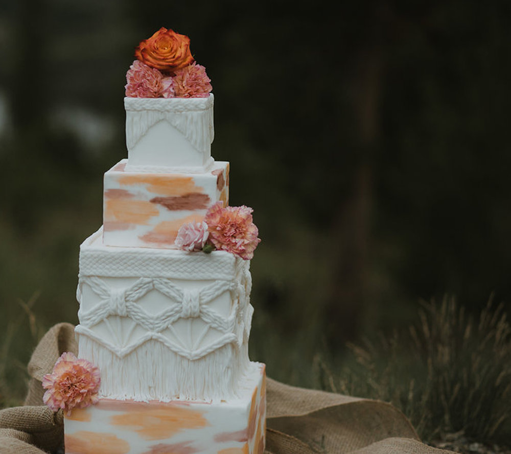 boho reception 4-tier stacked cake - fresh flowers