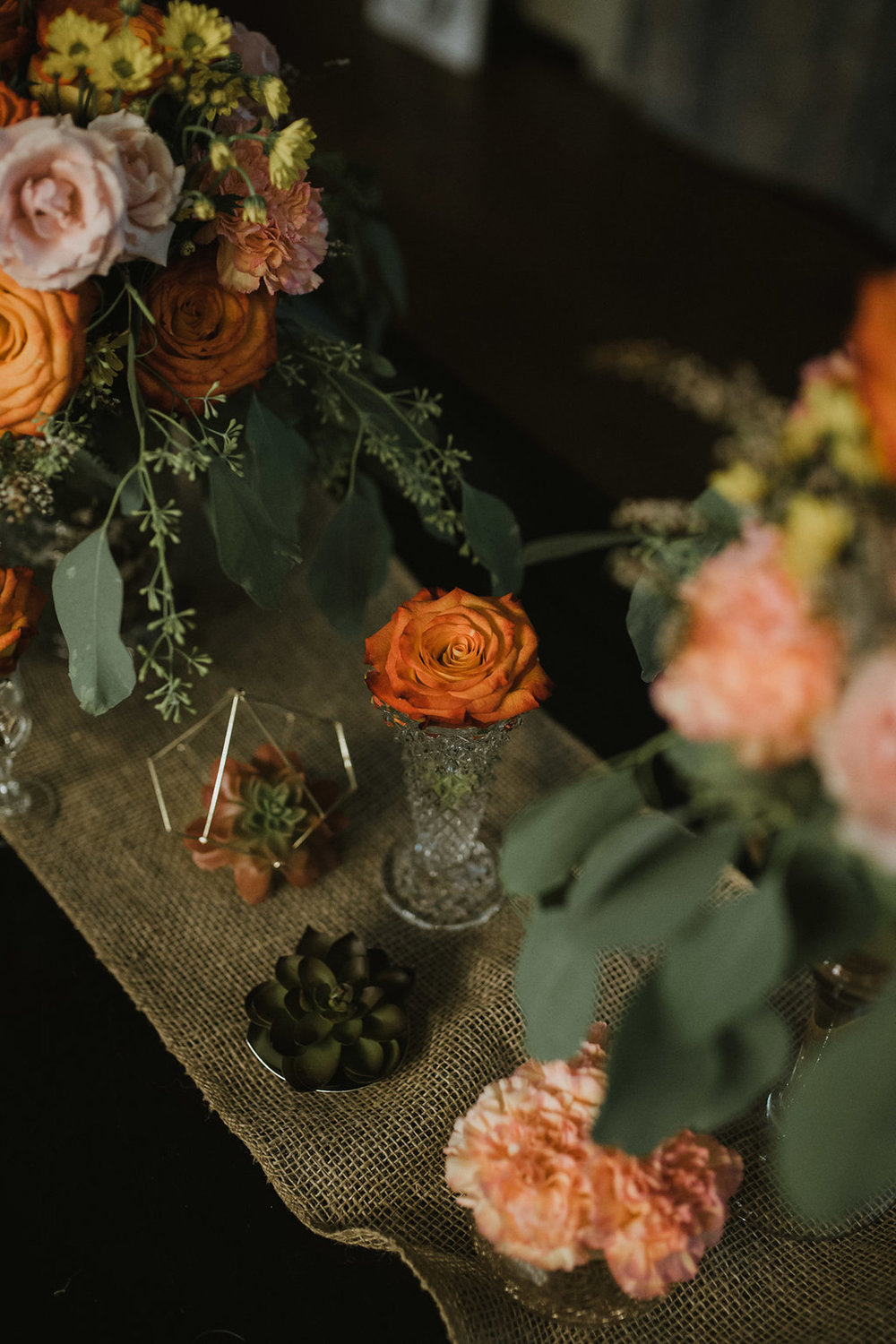boho reception decor - fresh flowers, artificial succulents