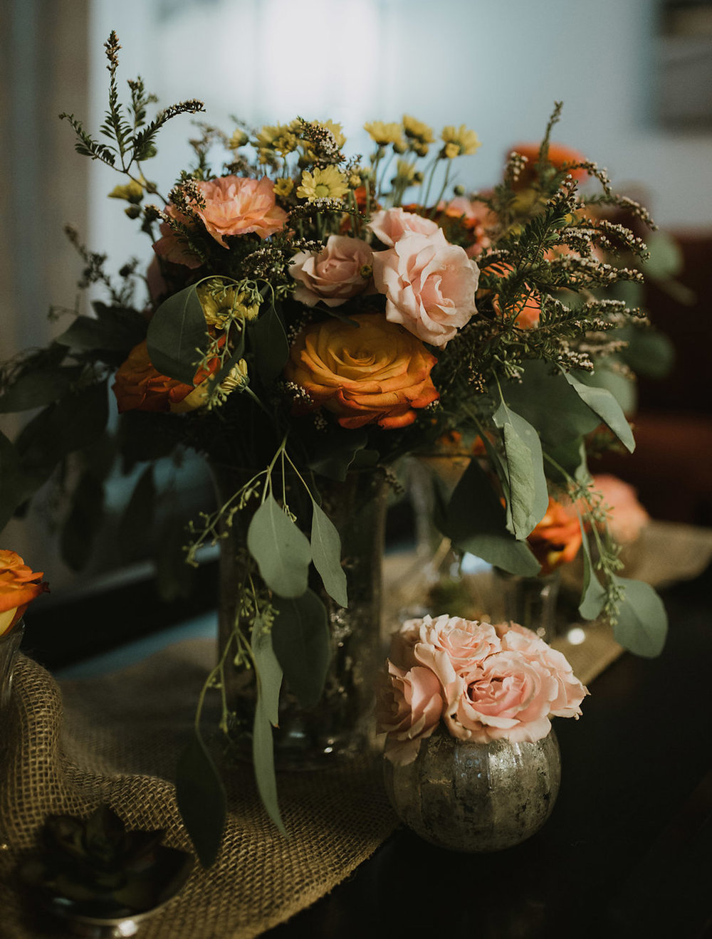 boho reception, low-high table centerpiece - fresh flowers