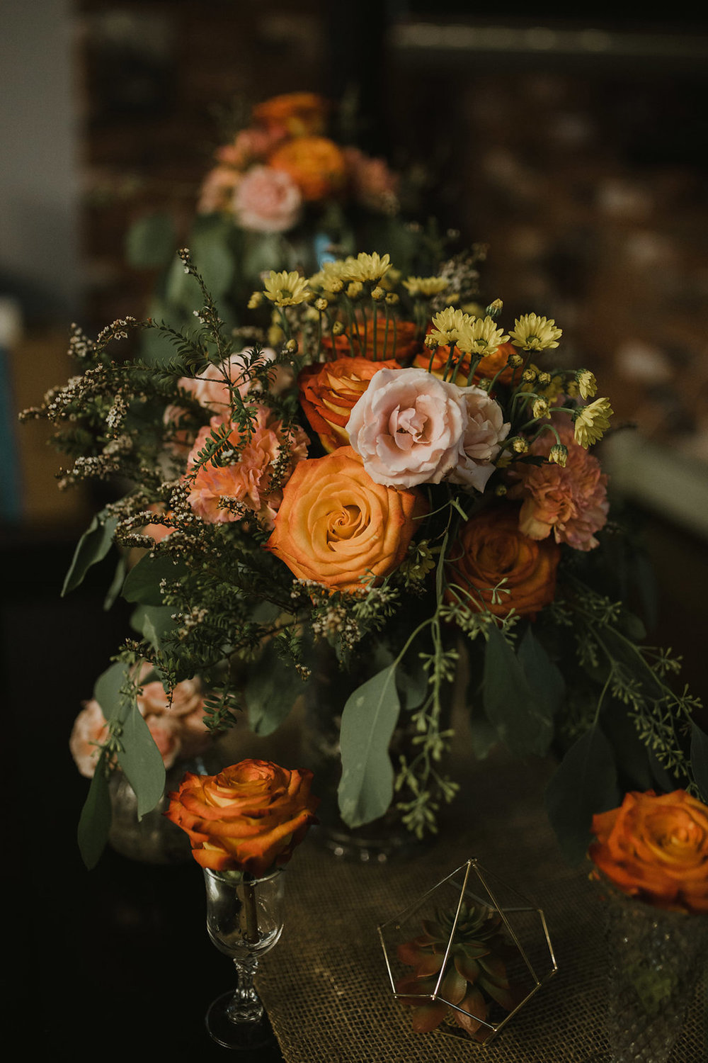 boho reception, table decor - fresh flowers, artificial succulents