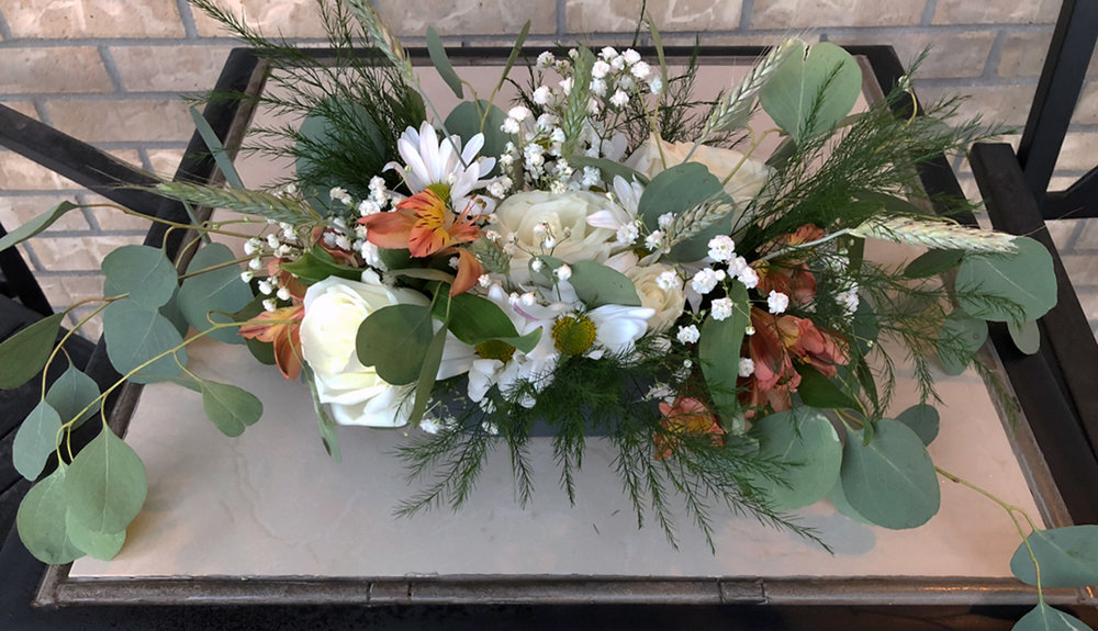 ceremony alter arrangement - fresh flowers in small metal tin