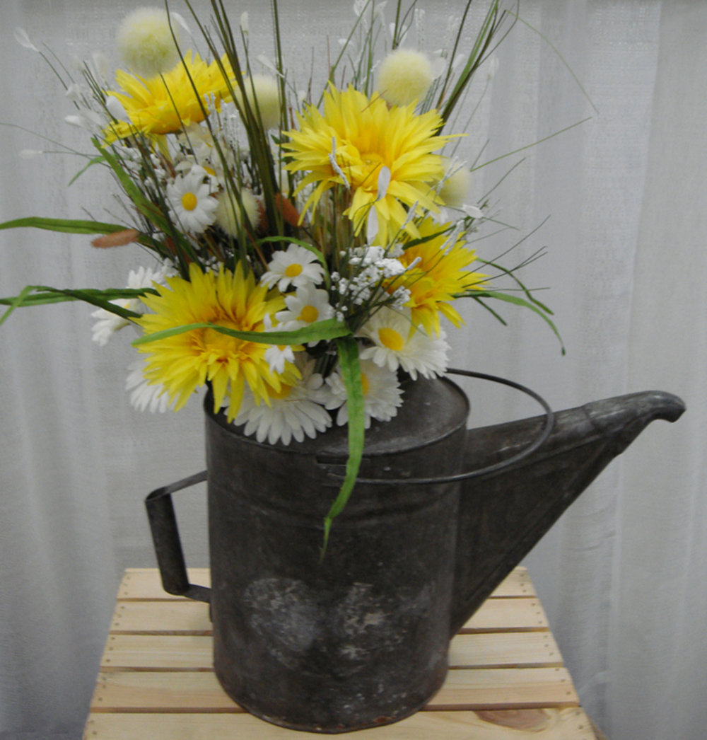 reception/event accent decor or table centerpiece - silk flowers in old watering can