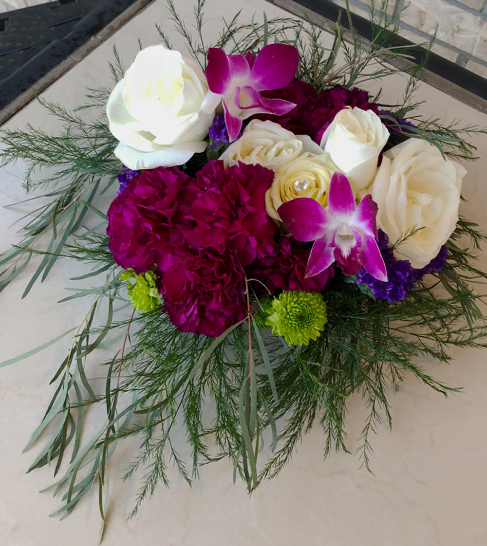 low profile reception/event centerpiece or head/sweetheart table arrangement - fresh flowers