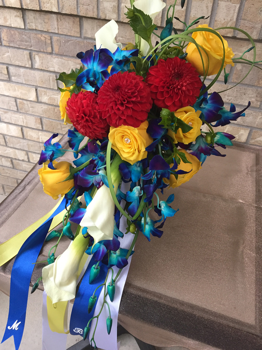 colorful bride's cascade bouquet - fresh flowers