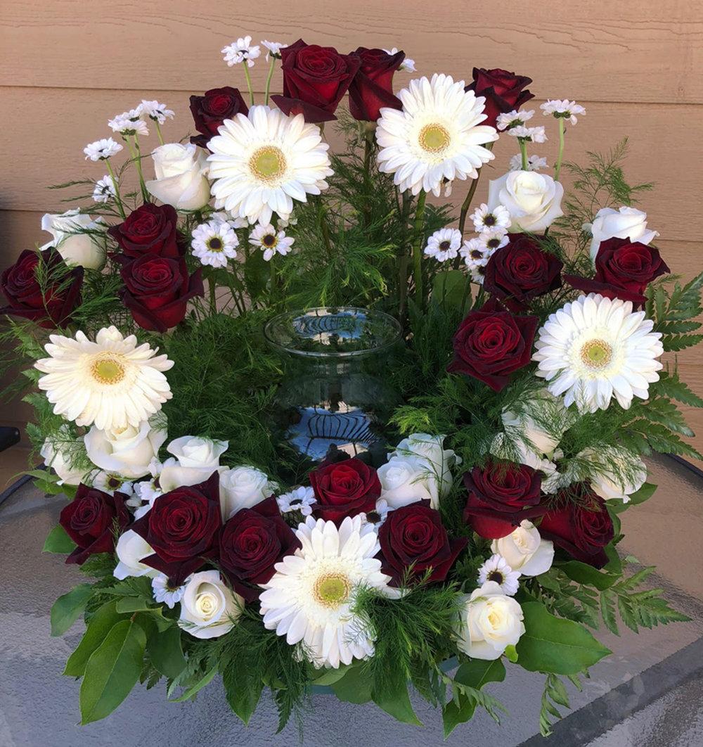 urn memorial wreath arrangement - fresh flowers