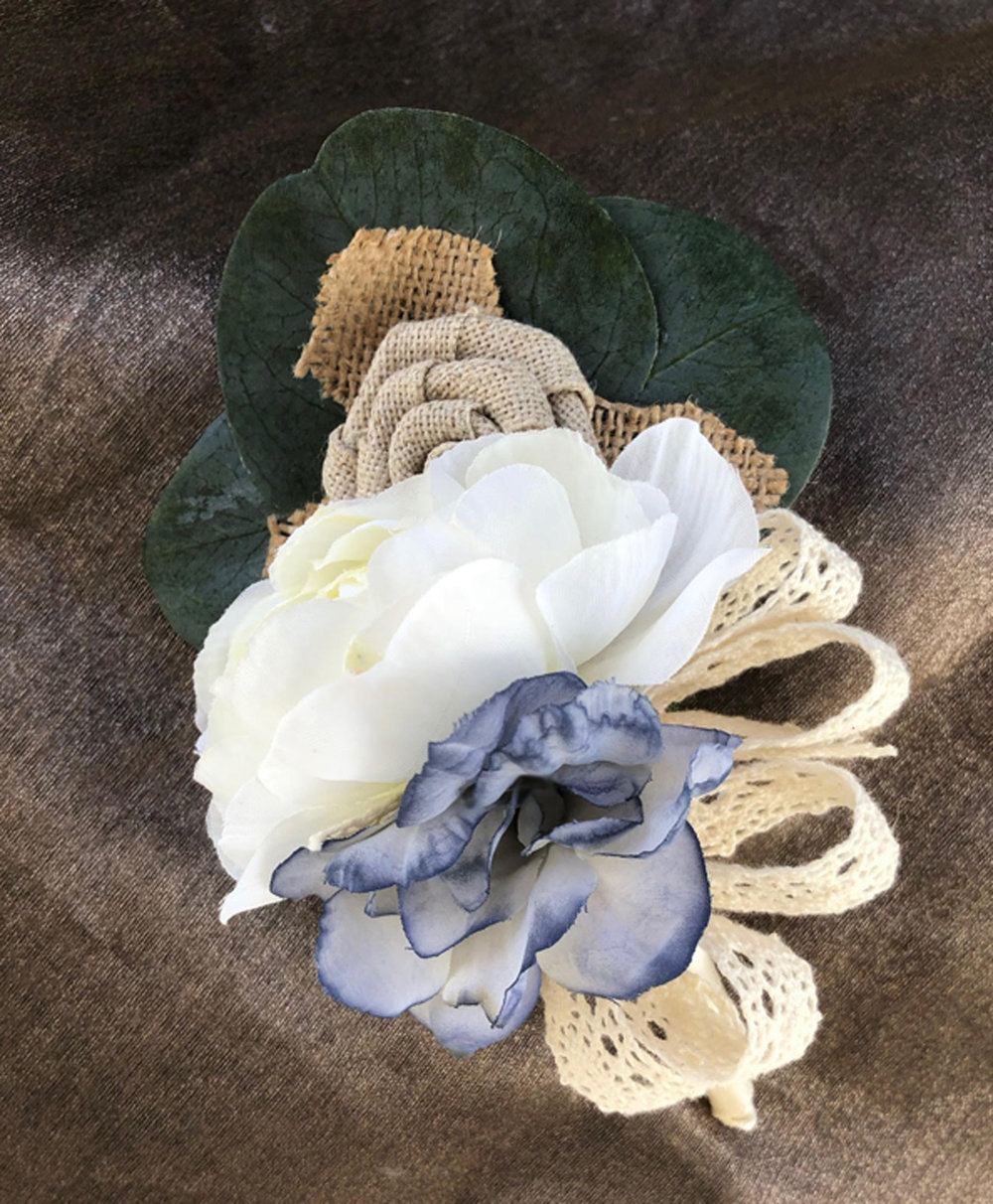 mother pin-on corsage - silk flowers (hand-dyed), burlap flowers with cotton lace bow