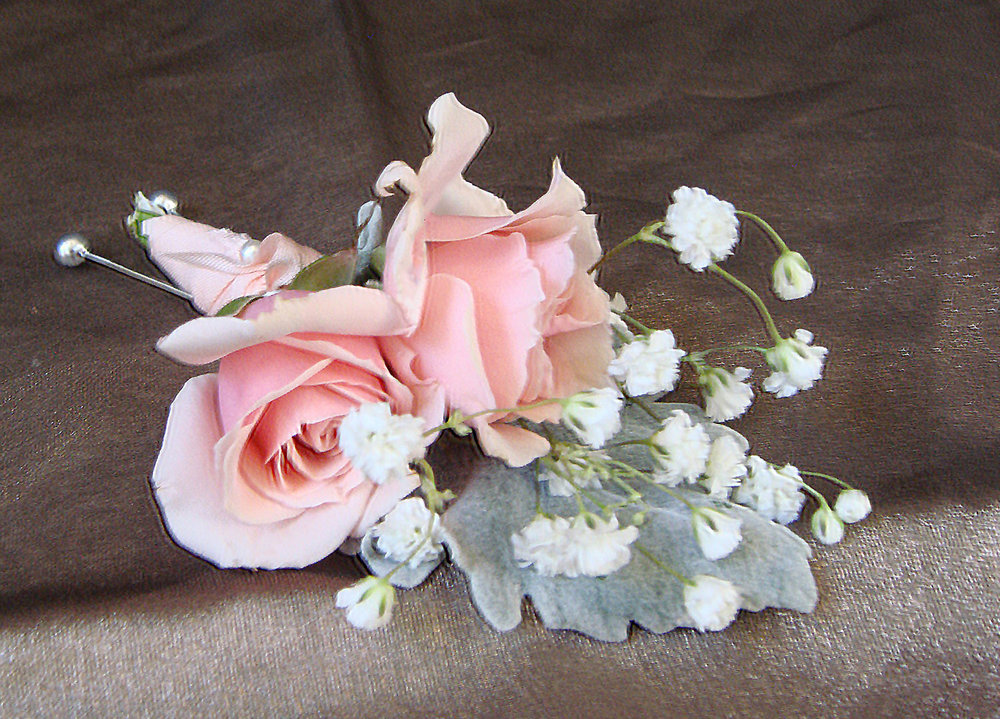 father's boutineer - fresh flowers with jute wrap