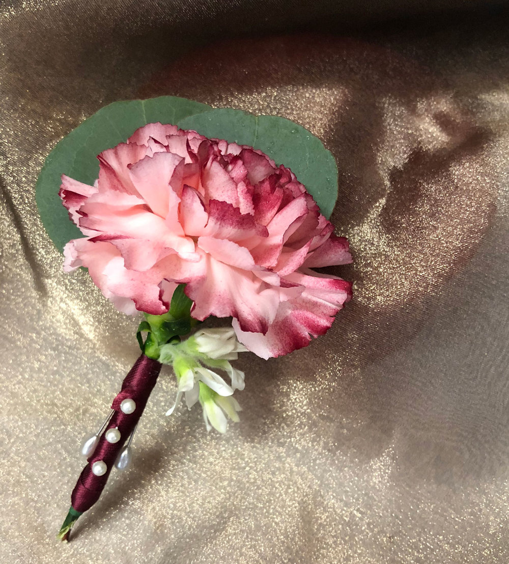 boutineer - hand tipped fresh carnation with ribbon wrap