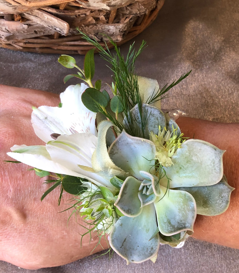 mother's wrist courage - fresh flowers, fresh mini succulent with hand dyed silk ribbon bow and pearl wristlet