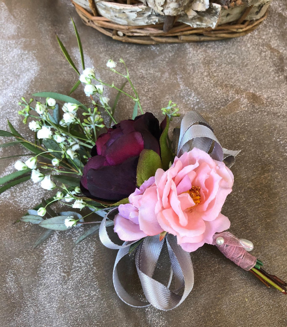 mother's corsage - hand dyed silk flowers with fresh greenery and filler, satin ribbon bow and organza wrap