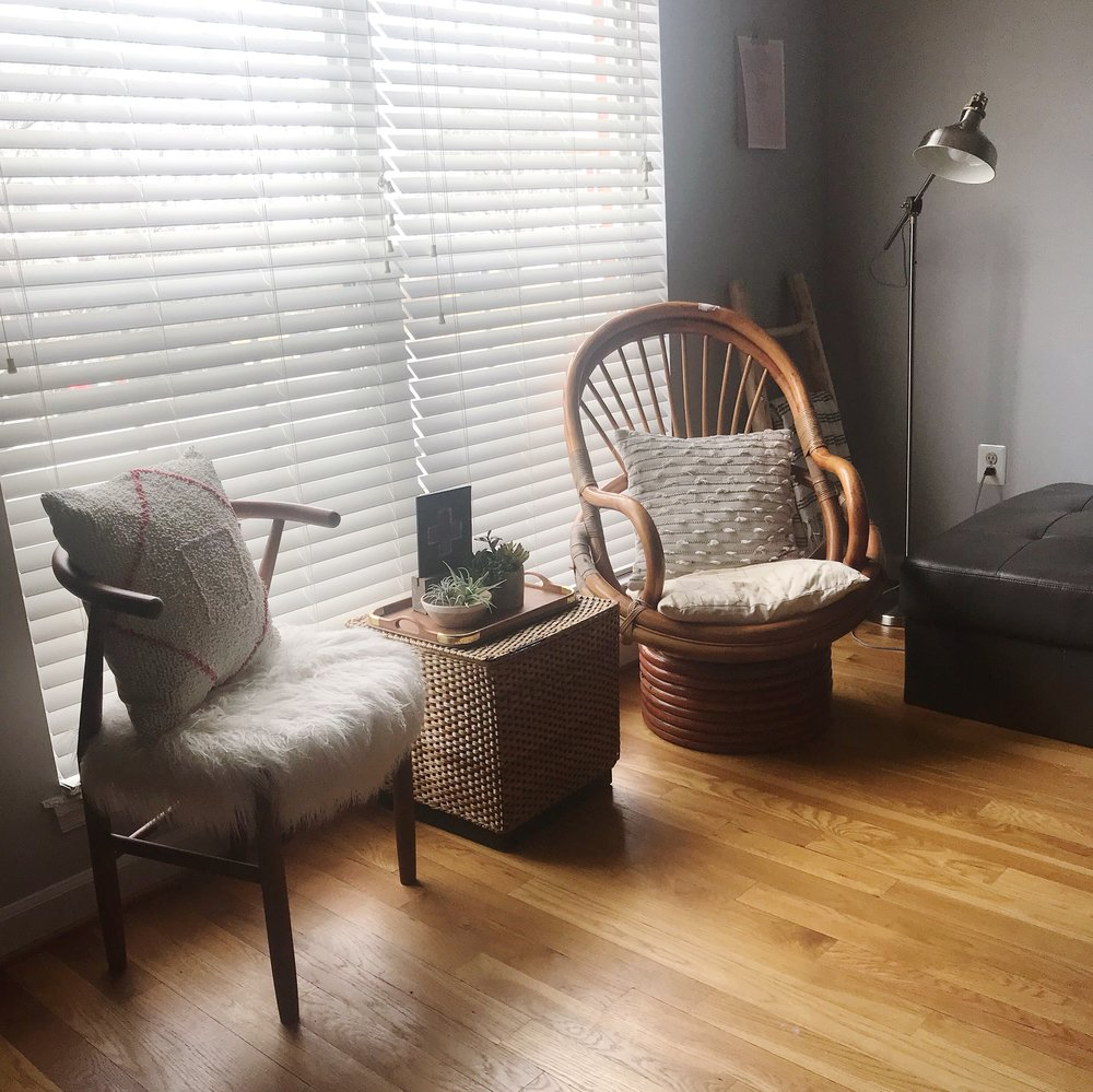 This is our entryway seating nook. Although rarely used, it holds some of my favorite things. The chair on the right was a thrift find for $17.