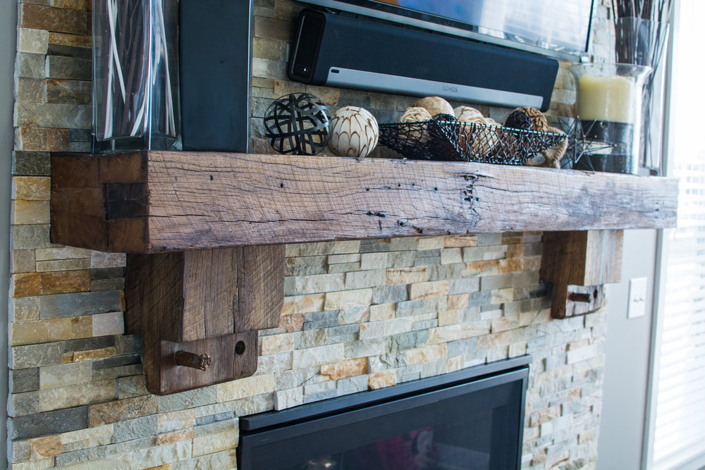 Reclaimed barn beam mantle