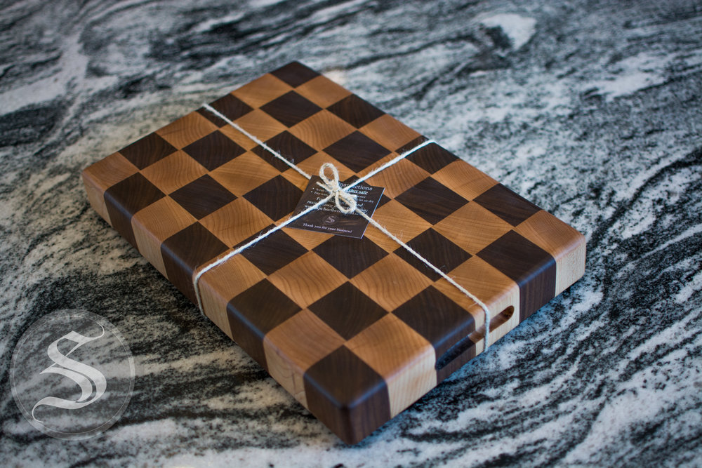 End Grain Walnut and Maple Cutting Board