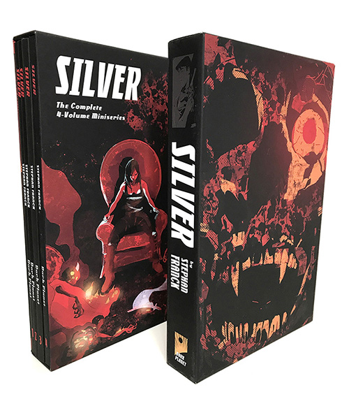 Full SILVER Boxset - BINGE READ the entire SILVER saga with the FULL BOXSET, or turn your previously-owned SILVER trades into a boxset by ordering the SLIPCASE separately.