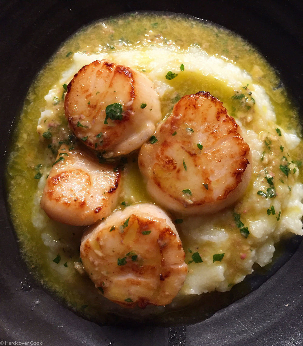 Seared Scallops with Cauliflower-Leek Puree & Anchovy Dressing