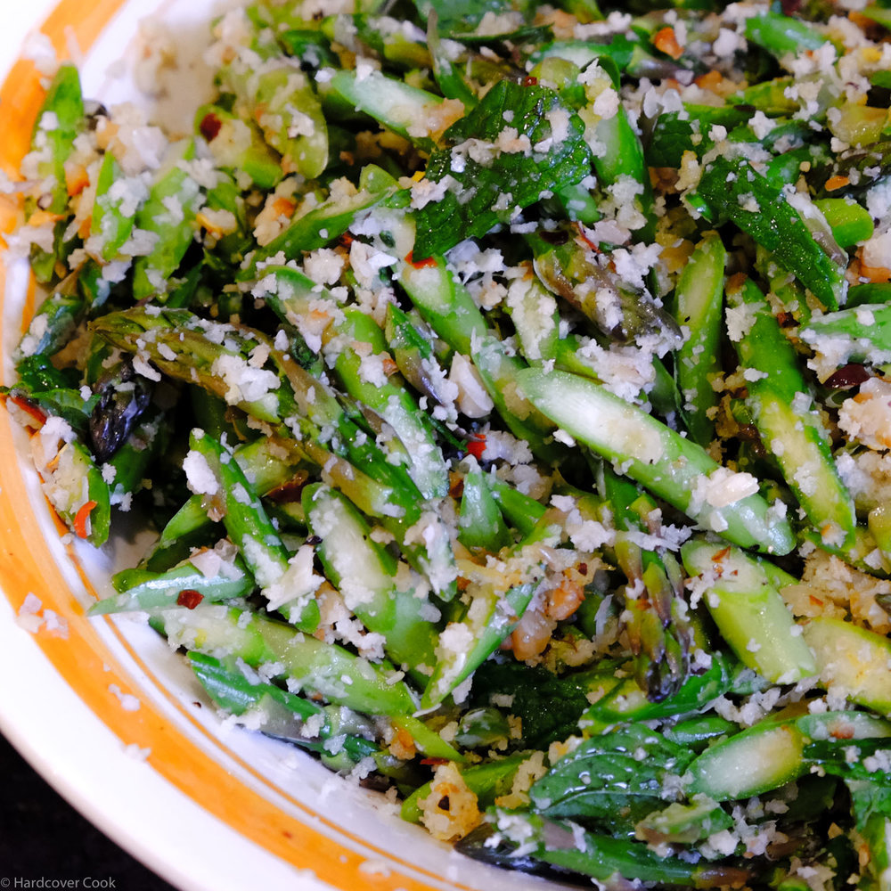 Raw Asparagus Salad with Breadcrumbs, Walnuts, and Mint