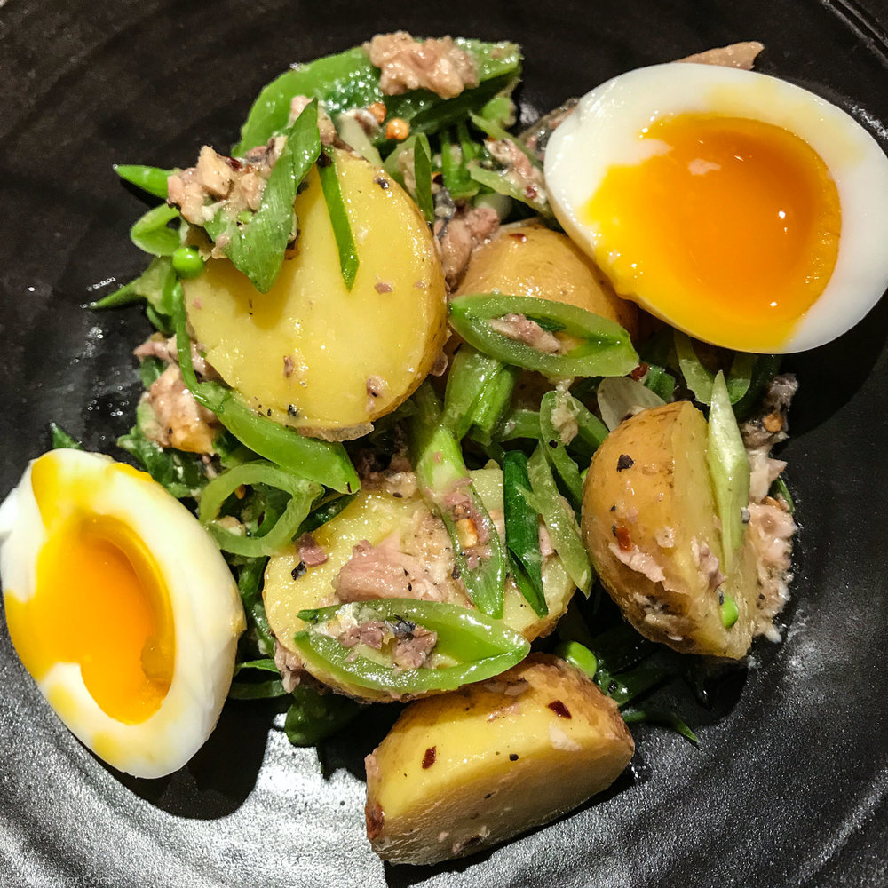 Sugar Snap Pea and New Potato Salad with Crumbled Egg and Sardines