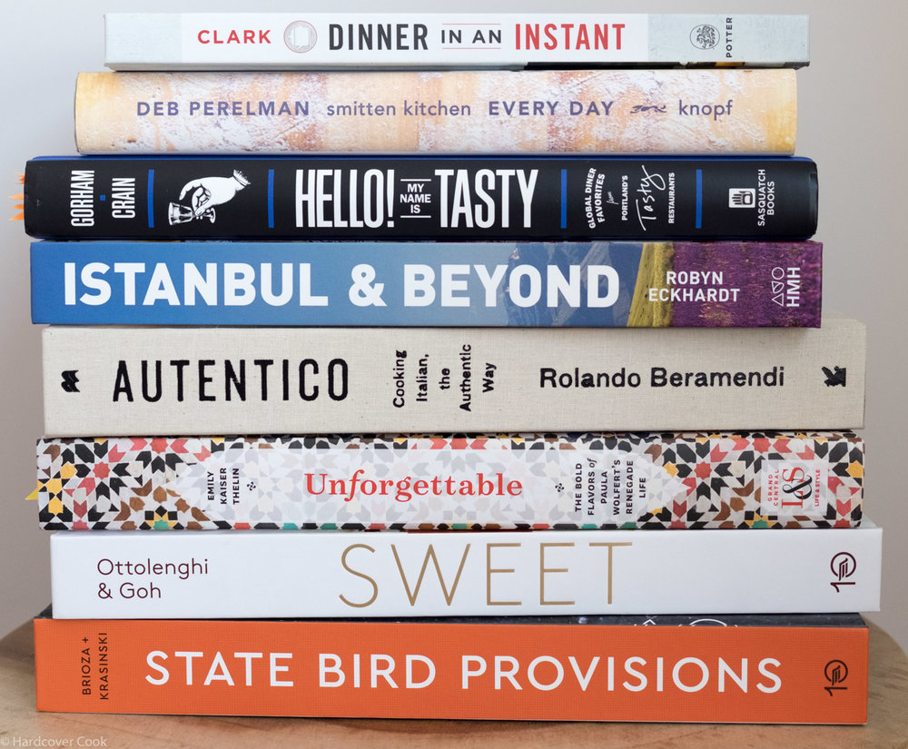 A stack of fall cookbooks