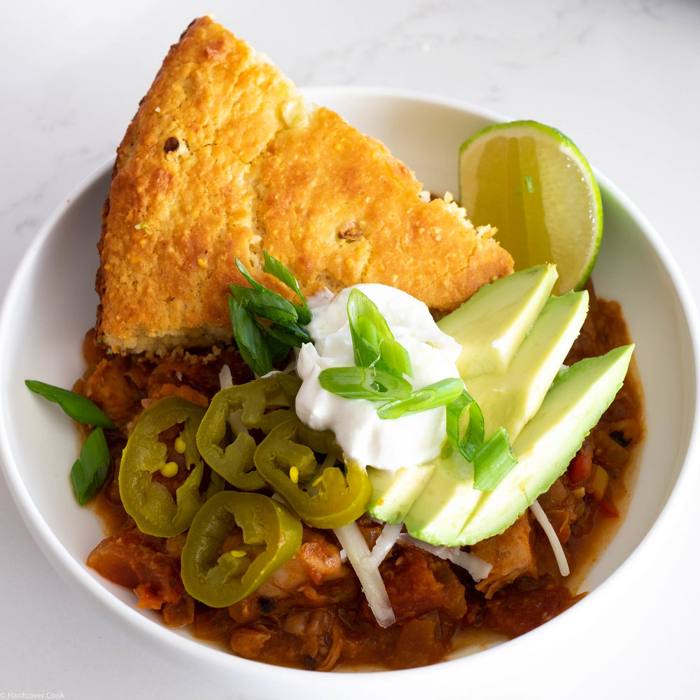 Chicken + Black-Eyed Pea Chili from  Now & Again  by Julia Turshen, the January cookbook club selection for the Eat Your Books Cookbook Club