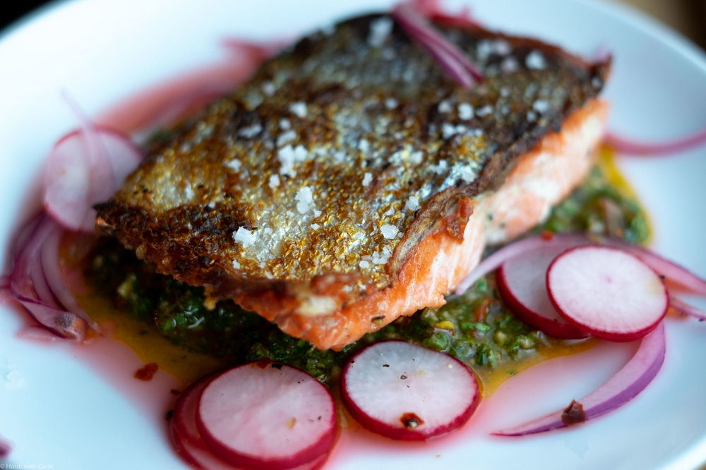 Crispy-Skinned Salmon with Spicy Radishes and Green Romesco from Dining In