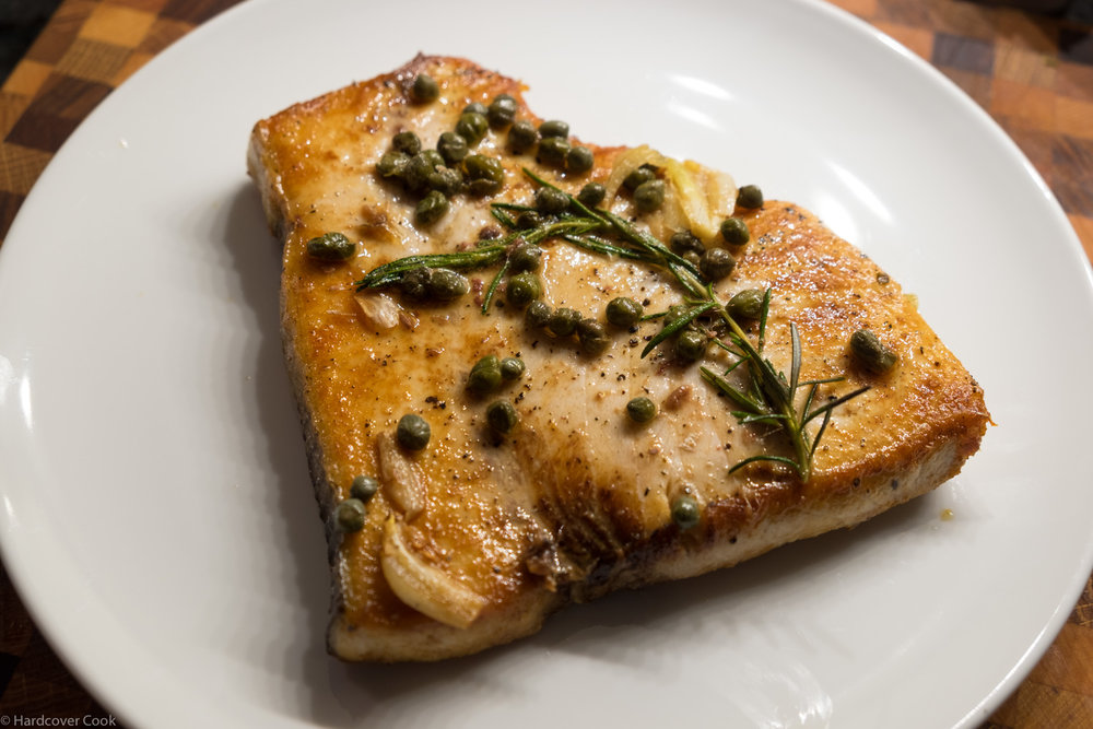 Swordfish-Like Steak with Crispy Capers from Dining In