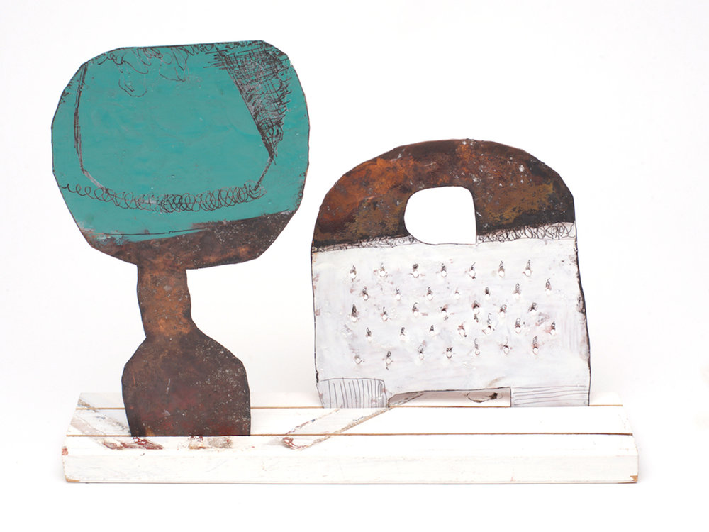 Family 4 Medium cheese grater - green front /white back Medium spoon - red front / white back On a medium re-purposed white picket fence Copper, paint and enamel 300 x 240 mm SOLD