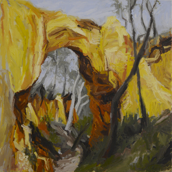 """Golden Gully"" Belinda Street 2015, Oil on linen, 900 x 900 mm."