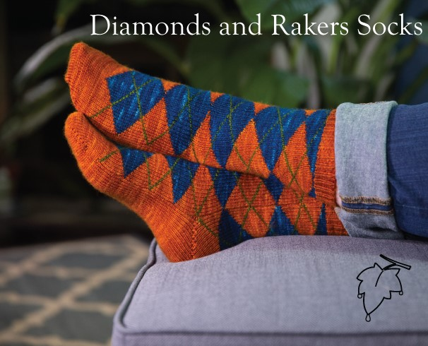 Diamonds and Rakers Sock pattern from Grey Drizzle Fibers