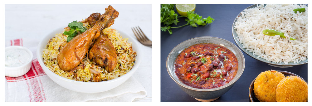 Hyderabadi Chicken Biryani; Rajma Chawal