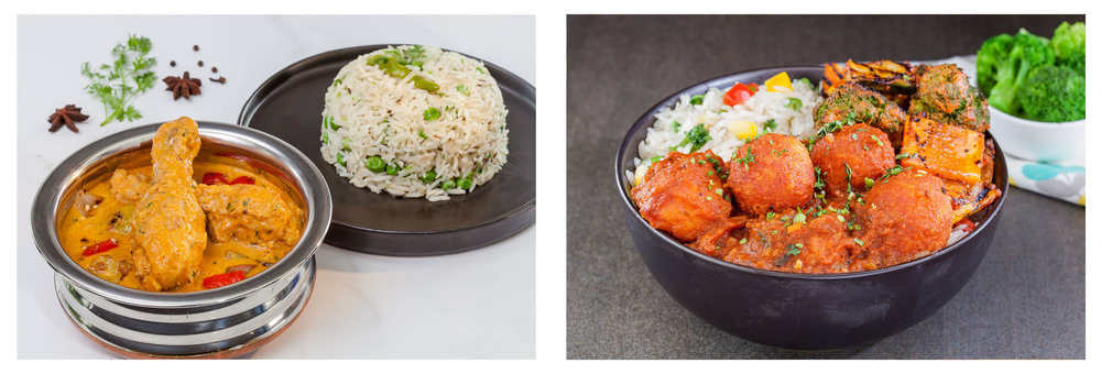 Kolhapuri Chicken Rice Bowl; Shahi Kofta Rice Bowl