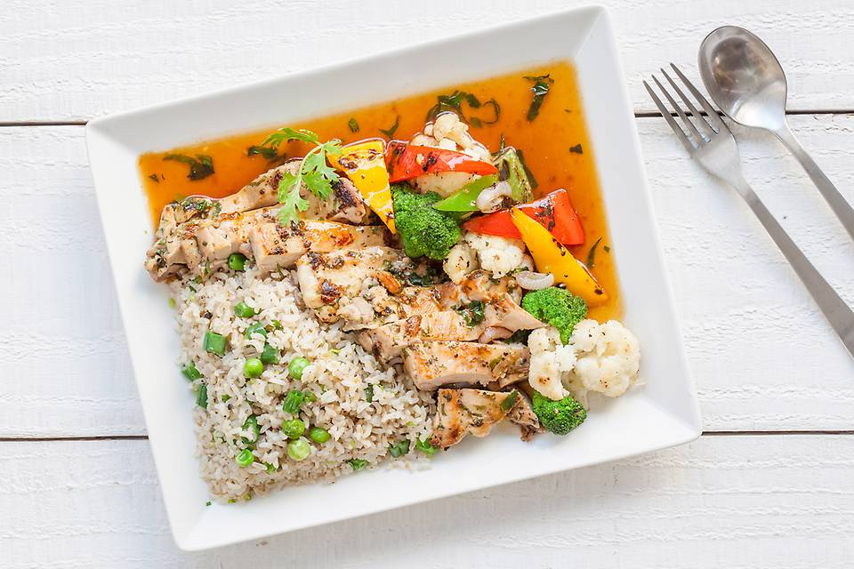 -     Grilled Lemon Pepper Chicken 'n' Brown Rice