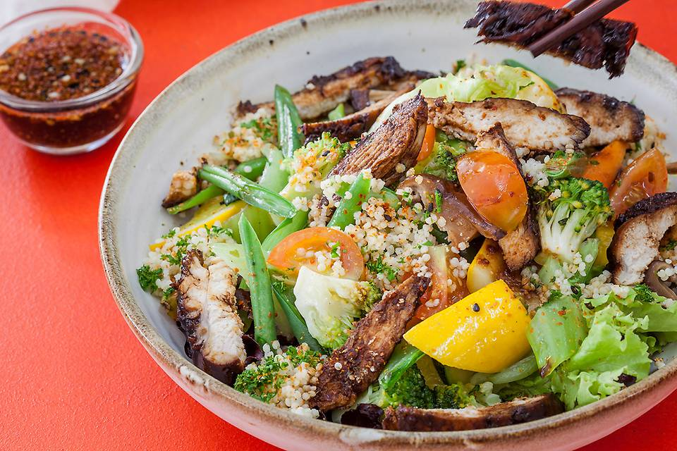 Japanese Millet Salad with Soya Glazed Chicken