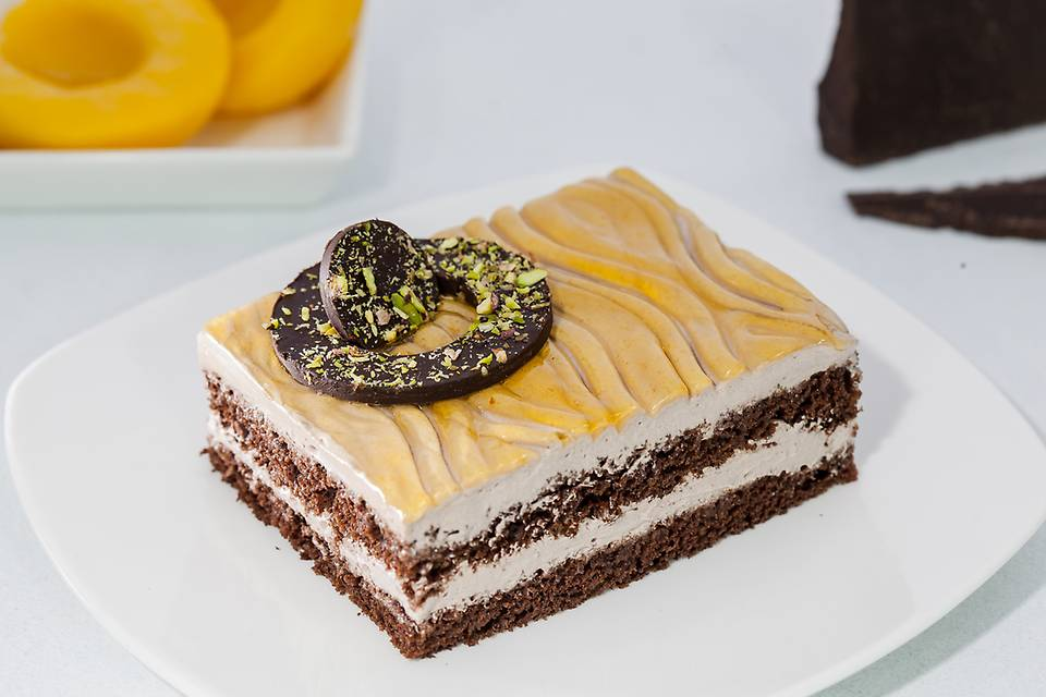 Golden Peach Chocolate Pastry