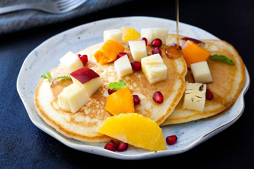 Pancakes with Maple Syrup and Fresh Seasonal Fruits.JPG