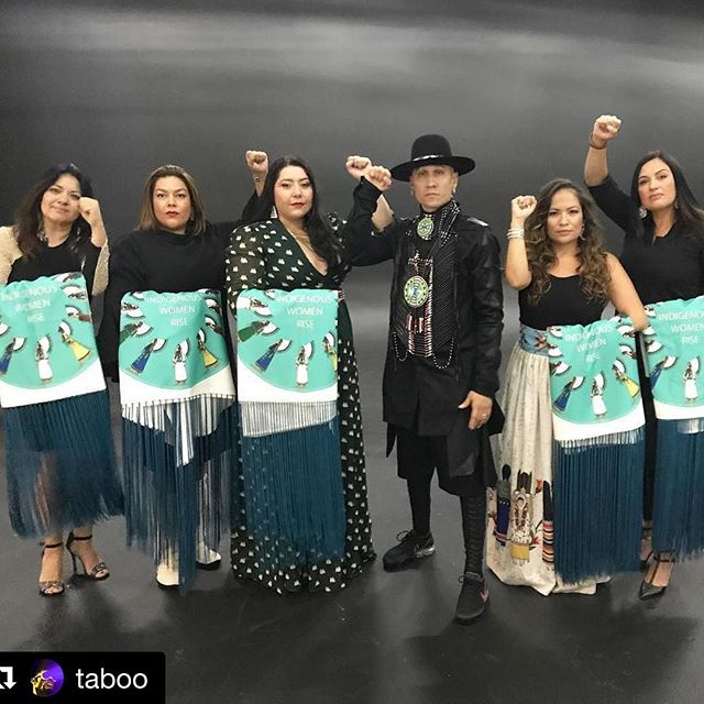"✊🏽✊🏽✊🏽 #Repost @taboo ・・・ This wasn't about an award or ""just to walk a red carpet ""I was there Representing with my amazing indigenous sisters! Indigenous women have guided our people's survival for over 500 years in America against continuous physical and cultural oppression. These women have carried our culture and birthed the seventh generation. We are still here because our grandmothers and mothers wouldn't stop fighting. So I wanted to represent with the leaders of Indigenous Women Rise and we all stepped up in a major way as a social impact warriors from Standing Rock to empowering native youth and amplifying the voices of indigenous people-This is our way of honoring our water protectors and the MTV community for seeing our people's struggle and celebrating our survival. #FACTS #standnrock #indigenouswomenrise"