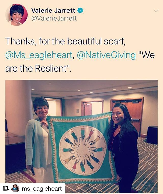 #Repost @ms_eagleheart ・・・ I gifted @valeriebjarrett the #indigenouswomenrise scarf in gratitude for her #SheLeadsToo keynote, as well as her work with #GenIndigenous with @barackobama.  I loved her story of the struggle of being a working mother and called out the woman who tried to shame her (as a working mother I completely relate). The work she led as senior advisor to President Obama and the former Chair of the White House Council on Women and Girls is beyond inspiring. #shero #wednesdaywisdom