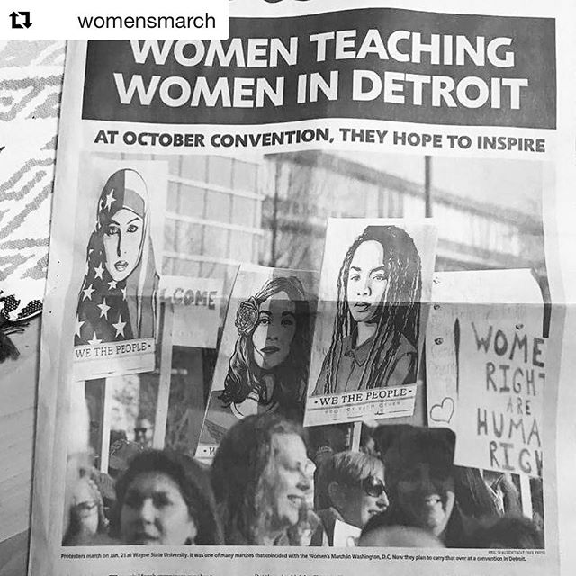 "#indigenouswomenrise Who's going? ✊🏽❤️ #Repost @womensmarch ・・・ Roll call: who's coming to the #WomensConvention October 27-29th in Detroit? Thanks to @detroitfreepress for the feature! (Link in bio to register today) . . . [IMAGE DESCRIPTION: A black and white photo of the cover of the Detroit Free Press has the headline ""women teaching women in Detroit"" follow by ""At October convention, they hope to inspire"". Below that is a photo of women holding protest posters at a women's march on January 21st, 2017.]"