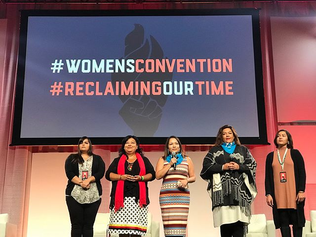 #indigenouswomenrise opening the #womensconvention in Detroit, MI with song and prayer, recognizing our ancestors, the Indigenous people of the land, and our missing and murdered Indigenous women. #mmiw