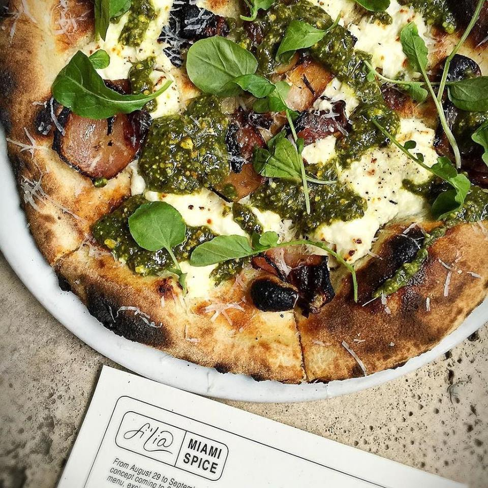 Pistachio Pesto Pizza with housemade ricotta, charred onion, and pecorino.  Photo courtesy of Filia
